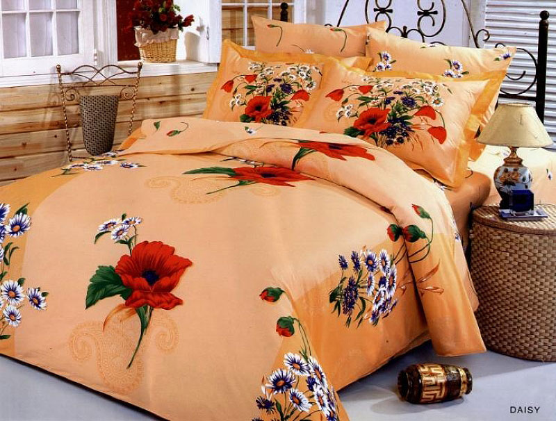 6 Piece Full / Queen Bedding Daisy Bouquets On