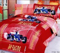F1 Red - 4 Piece Twin (Single) Bedding Red F1 Car Racing Junior Kids Duvet Cover set
