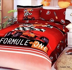 Formula Red - 4 Piece Twin (Single) Bedding Formula 1 Car Racing Junior Kids Duvet Cover Set