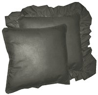 Solid Charcoal Gray Colored Accent Pillow with Removable Ruffled or Corded Edge (in 16x16 or 18x18)