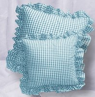 Turquoise Gingham Check Accent Pillow with Removable Ruffled Edge Cover (available in 16x16 or 18x18)
