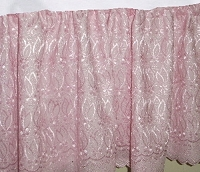 Pink Eyelet Lace Bedskirt - (in all sizes including crib and daybeds and 9 custom skirt drop lengths)