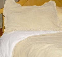 Ivory-Beige Chenille Comforter Set (available in Twin to California King, includes 1 to 2 matching shams)