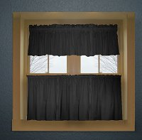 Solid Black Colored Café Style Curtain (includes 2 valances and 2 kitchen curtain panels in many custom lengths)