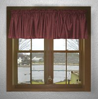Solid Burgundy (Dark) Wine Colored Valance Curtain (available in many custom lengths)