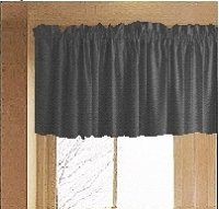 Solid Charcoal Gray Colored Valance Curtain (available in many custom lengths)