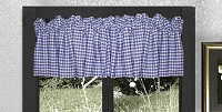 Dark Royal Blue Gingham Check Valance - (available in many custom lengths)