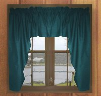 Solid Dark Teal Colored Swag Window Valance (optional center piece available)