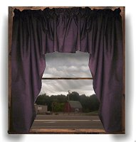 Solid Eggplant Purple Colored Swag Window Valance (optional center piece available)