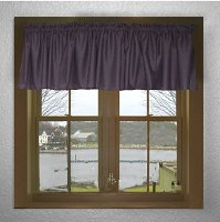 Solid Eggplant Purple Colored Valance Curtain (available in many custom lengths)