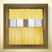 Solid Golden Yellow Colored Caf� Style Curtain (includes 2 valances and 2 kitchen curtain panels in many custom lengths)
