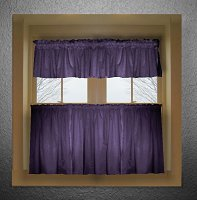 Solid Purple Colored Café Style Curtain (includes 2 valances and 2 kitchen curtain panels in many custom lengths)
