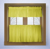 Solid Lemon (Bright) Yellow Colored Caf� Style Curtain (includes 2 valances and 2 kitchen curtain panels in many custom lengths)