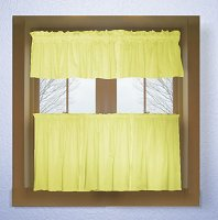 Solid Light Yellow Colored Café Style Curtain (includes 2 valances and 2 kitchen curtain panels in many custom lengths)