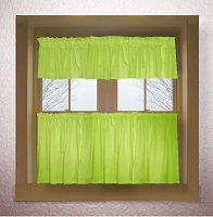 Solid Lime Green Colored Café Style Curtain (includes 2 valances and 2 kitchen curtain panels in many custom lengths)