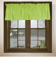Solid Lime Green Colored Valance Curtain (available in many custom lengths)