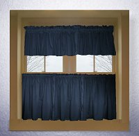 Solid Navy Blue Colored Café Style Curtain (includes 2 valances and 2 kitchen curtain panels in many custom lengths)