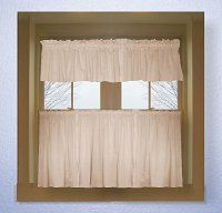 Solid Nude-Blush Pink Colored Caf� Style Curtain (includes 2 valances and 2 kitchen curtain panels in many custom lengths)