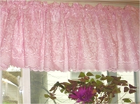 Pink Lace Eyelet Window Valance with Scalloped Edge