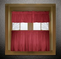 Solid Red Colored Caf� Style Curtain (includes 2 valances and 2 kitchen curtain panels in many custom lengths)