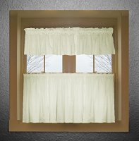 Solid Soft White Colored Café Style Curtain (includes 2 valances and 2 kitchen curtain panels in many custom lengths)
