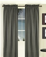 Solid Charcoal Gray Colored Long Window Curtain - (available in many lengths and 3 rod pocket sizes)