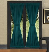 Solid Dark Teal Colored French Door Curtain (available in many lengths)