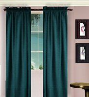 Solid Dark Teal Colored Window Long Curtain - (available in many lengths and 3 rod pocket sizes)