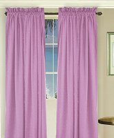 Solid Violet Purple Colored Long Window Curtain - (available in many lengths and 3 rod pocket sizes)