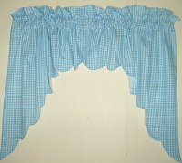 Turquoise Scalloped Window Swag Valance with White Lining (optional center piece available)