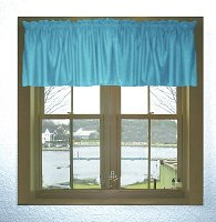 Solid Turquoise Colored Valance Curtain (available in many custom lengths)