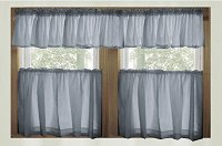 Solid Wedgewood Blue Café Style Tier Curtain (includes 2 valances and 2 kitchen curtain panels in many custom lengths)