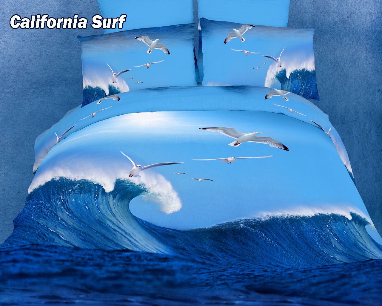 California surf by dolce mela 6 pc s queen size duvet cover set in a