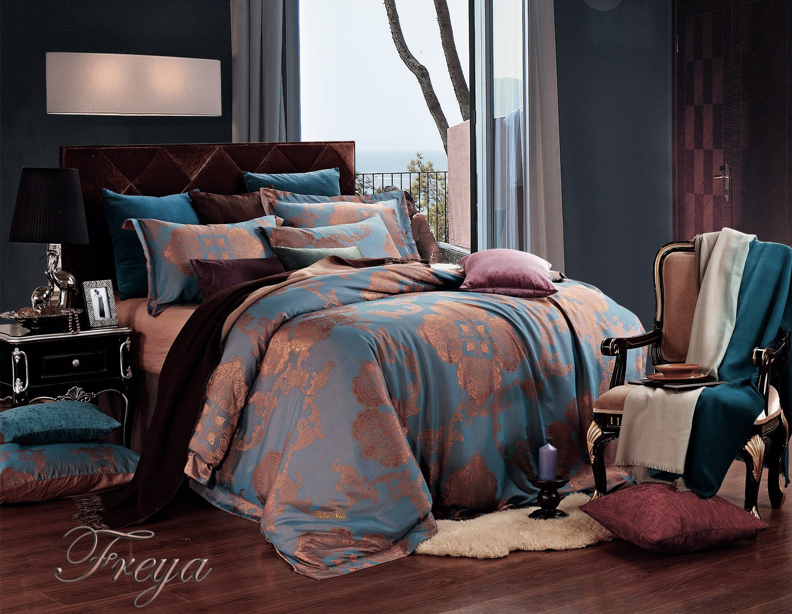 Freya By Dolce Mela 6 Pc King Size Duvet Cover Set Luxury