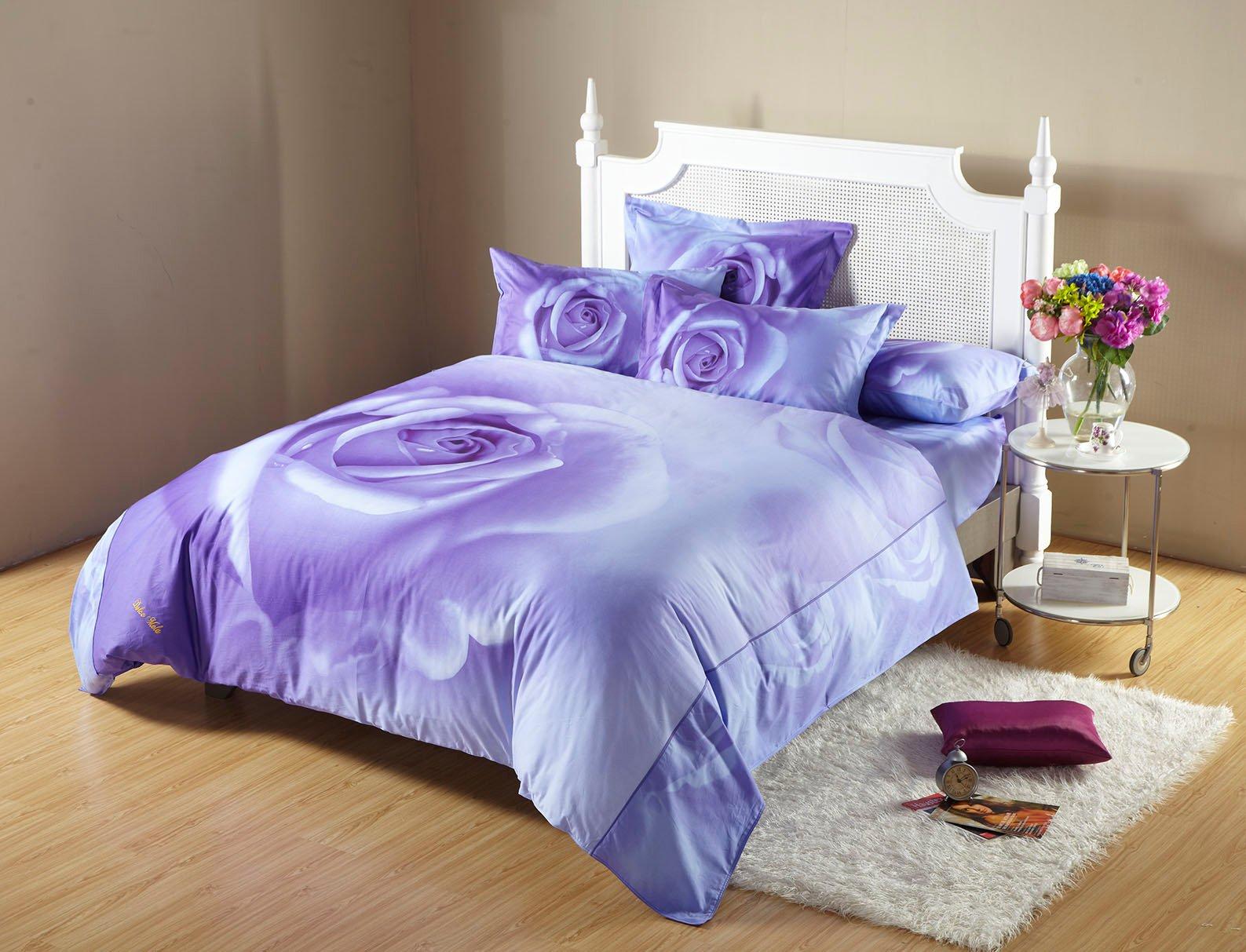 Midnight Rose Queen Bedding Romantic Print Luxury Duvet