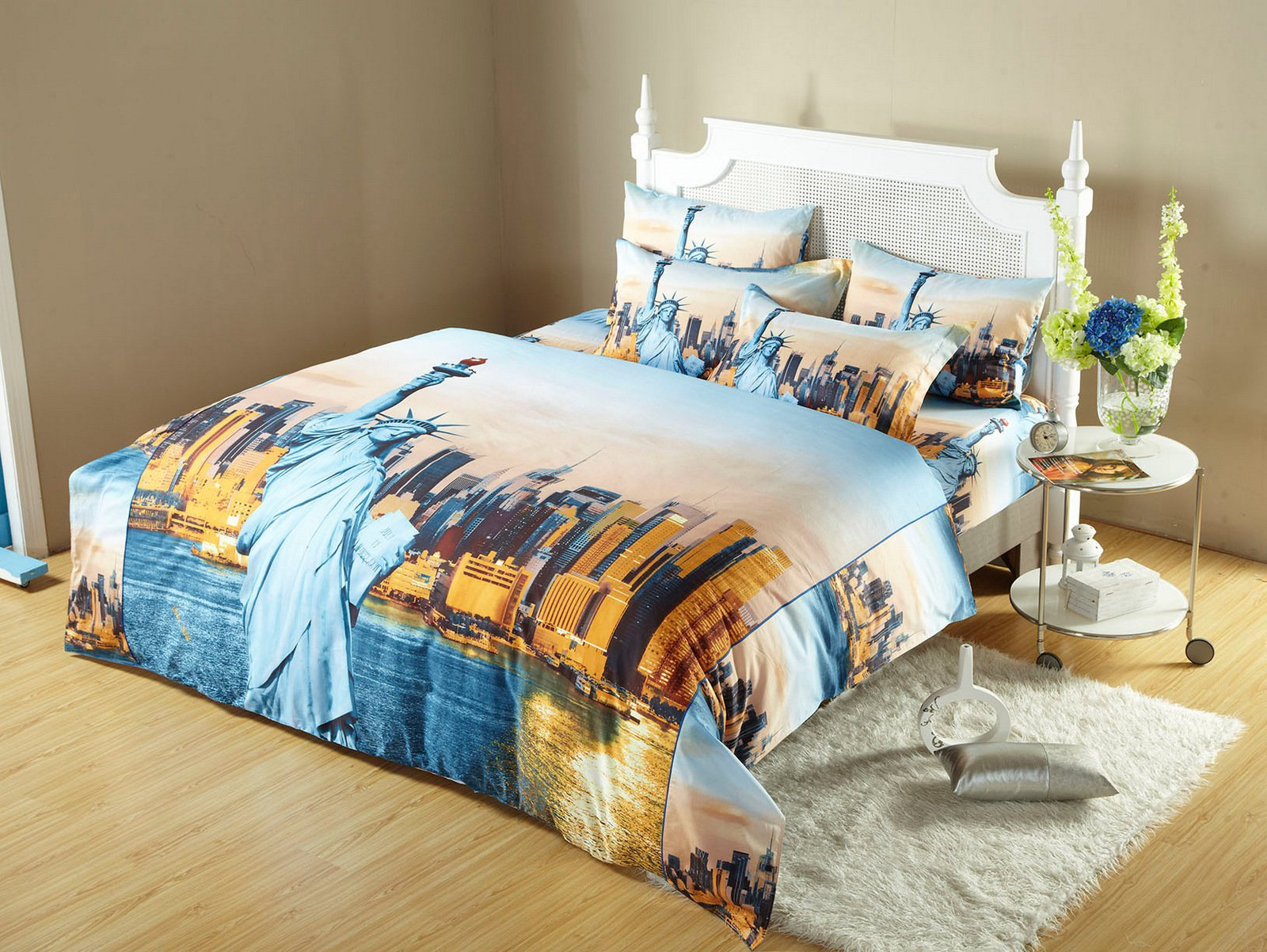 statue of liberty nyc city themed king size bedding duvet cover set