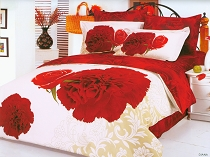 Diana - Beautiful Print of Large Red Carnations and Roses on a mostly White Background that Reverses to another Gorgeous Floral Design by Dophia, 6pc Full / Queen Duvet Cover Set