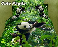 Cute Panda by Dolce Mela, 6 PC's Queen Size Duvet Cover Set in a Beautiful Dolce Mela Gift Box DM434Q