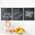 Set of three small rectangular wall decal chalkboards with drawings of flowers and a winged insect.