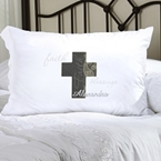Pillowcase with a Cross and the written words Faith, Blessings and Alexandra.