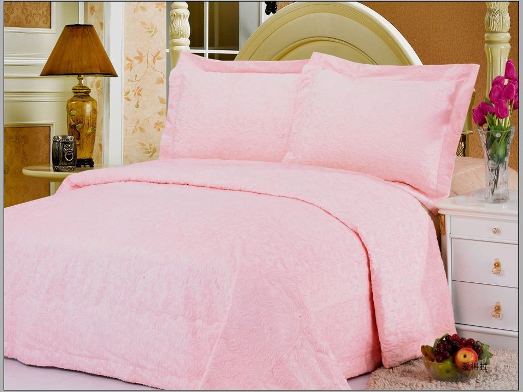 Pink Colored Light Fabric Bedcover With Tufted Abstract Flowery Designs By Le Vele