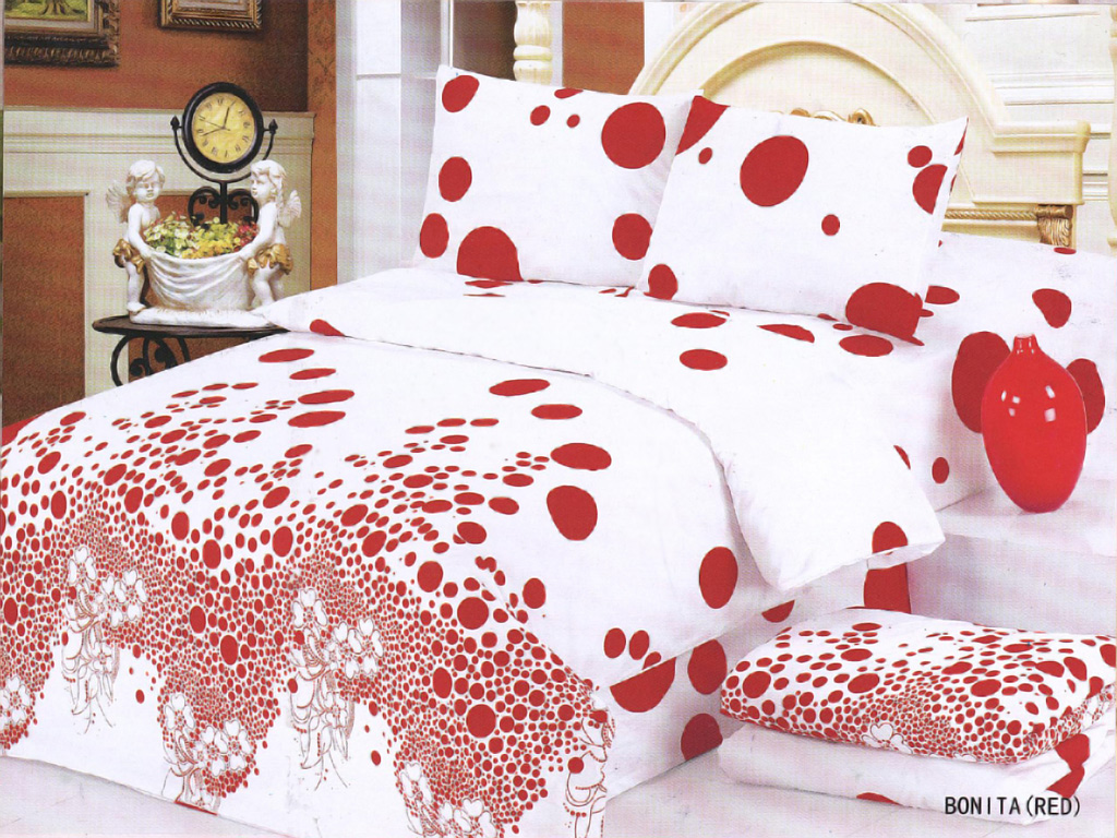 White and red bed sheets - Le Vele Bonita Red Duvet Cover Bed In Bag 4 Pcs King Bedding Set Le184rk