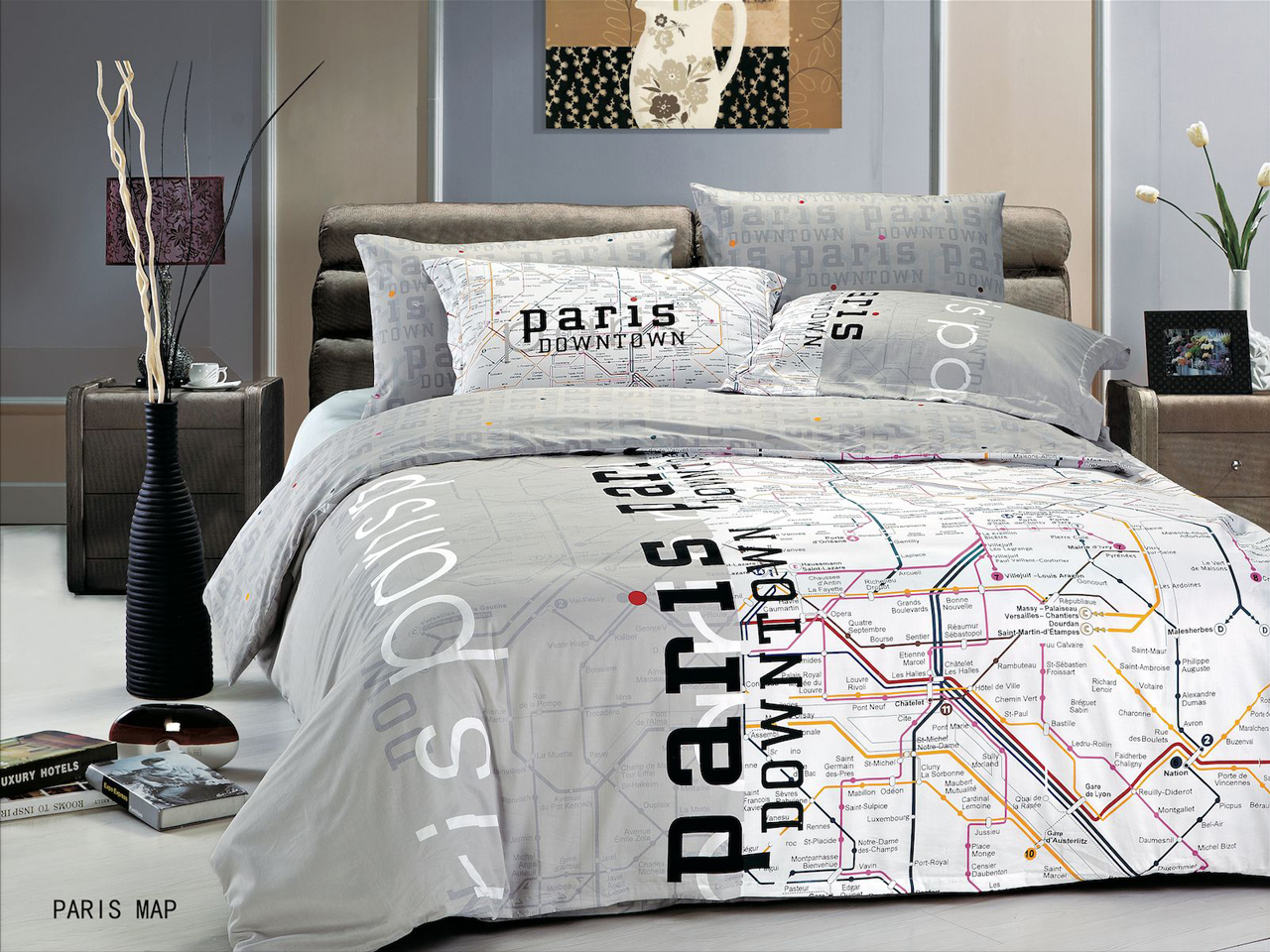Modern bedding ideas with pictures - Covers Paris Map By Le Vele 4pc Twin Duvet Cover Set Modern Bedding
