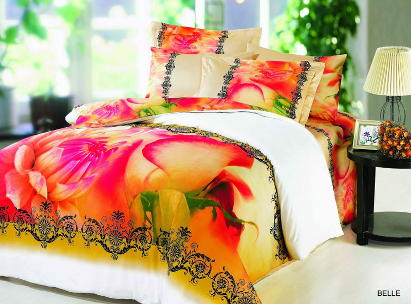 Belle - 4pc Twin Size Bedding, Vivid Yellow-Red Roses ...