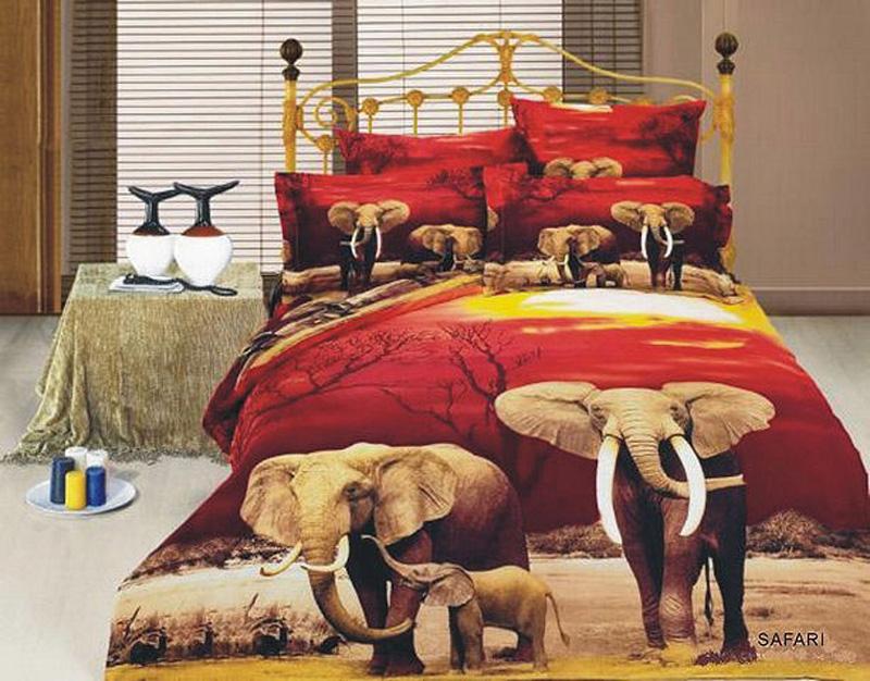 6pc King Size Bedding Ensemble, Vibrant Elephant