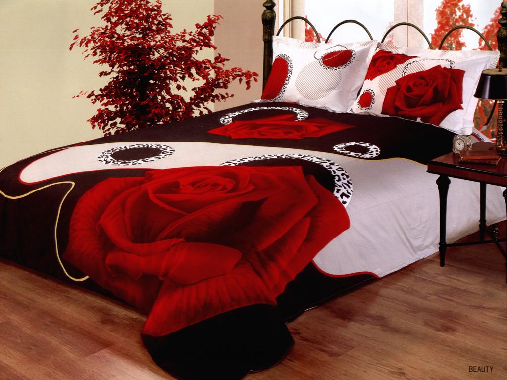 Of a large red rose by le vele 4 pc full queen duvet cover set
