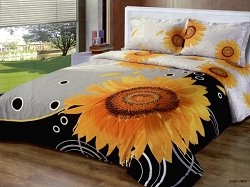 Sunflower - An Artistic Print featuring a Large Sunflower that Reverses to Smaller Sunflowers, 4pc Full / Queen Duvet Cover Set