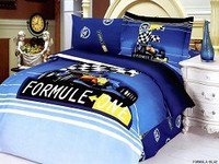 Formula Blue - Boys Bedding Featuring a Formula One Racing Car with a Checkered Flag, Kids 4 pc Twin Size Duvet Cover Set