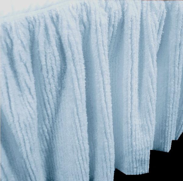 light blue chenille bedskirt in