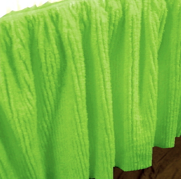 Lime Green Chenille Bedskirt In Twin Full Queen